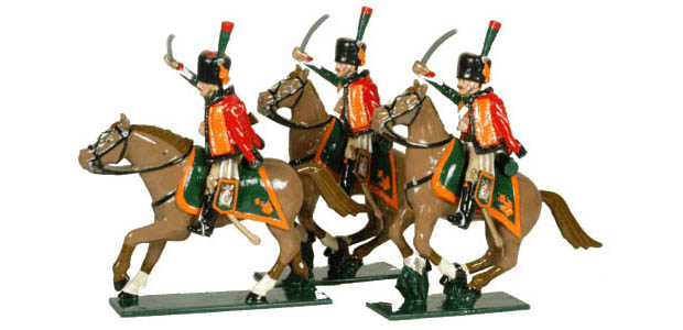 Französische Garde Chasseurs à Cheval, 1804–1815, 54 mm Zinnfiguren Tradition of London Toy Set 758