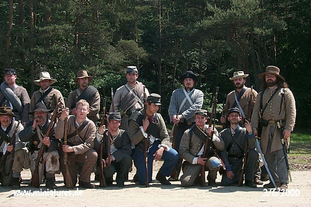 Officer und men of the 7th Georgia Cavalry (dismounted) at the reenactment of the Battle of Five Forks